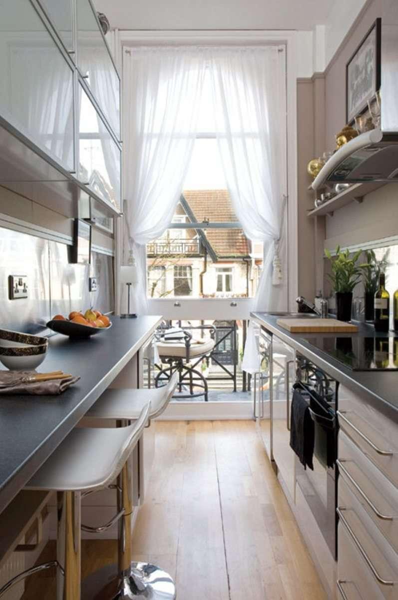 узкая кухня идеи декора