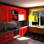 элитный дизайн кухни красные тона