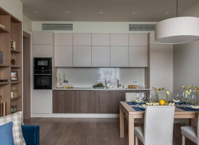 кухня 15 кв м в светлых тонах