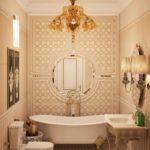 идея применения красивой декоративной штукатурки в интерьере ванной картинка