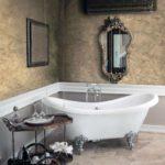 пример применения светлой декоративной штукатурки в дизайне ванной картинка