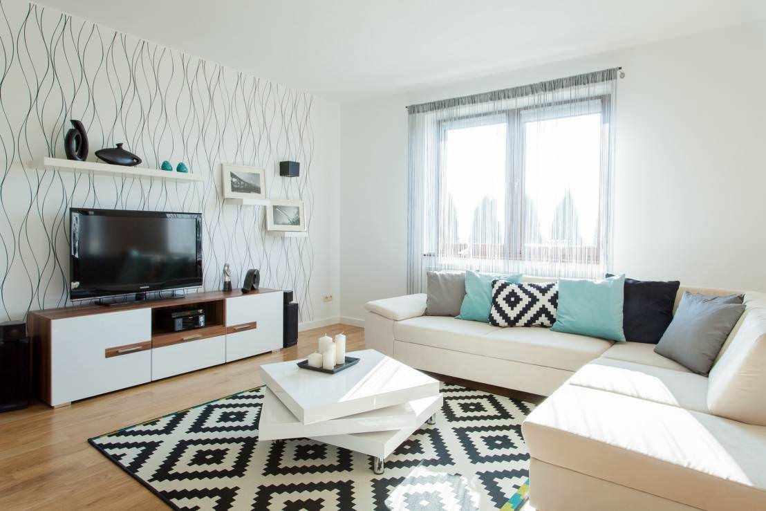 идея необычного дизайна обоев для гостиной