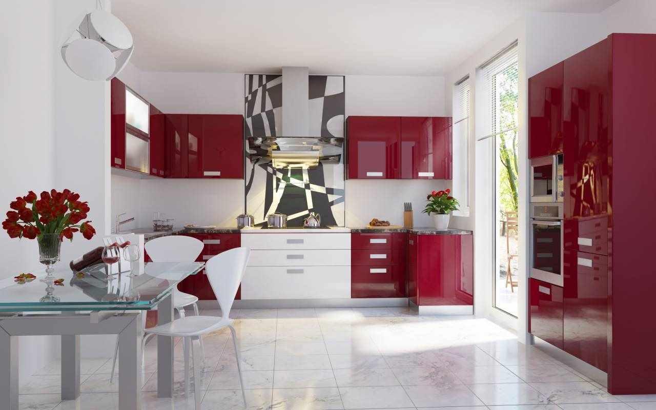 идея необычного декора красной кухни