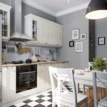 идея светлого интерьера угловой кухни картинка