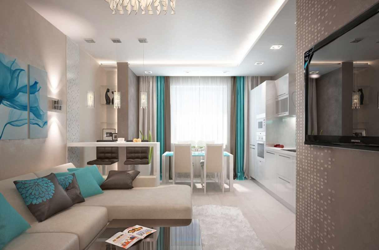 идея красивого дизайна кухни гостиной 16 кв.м