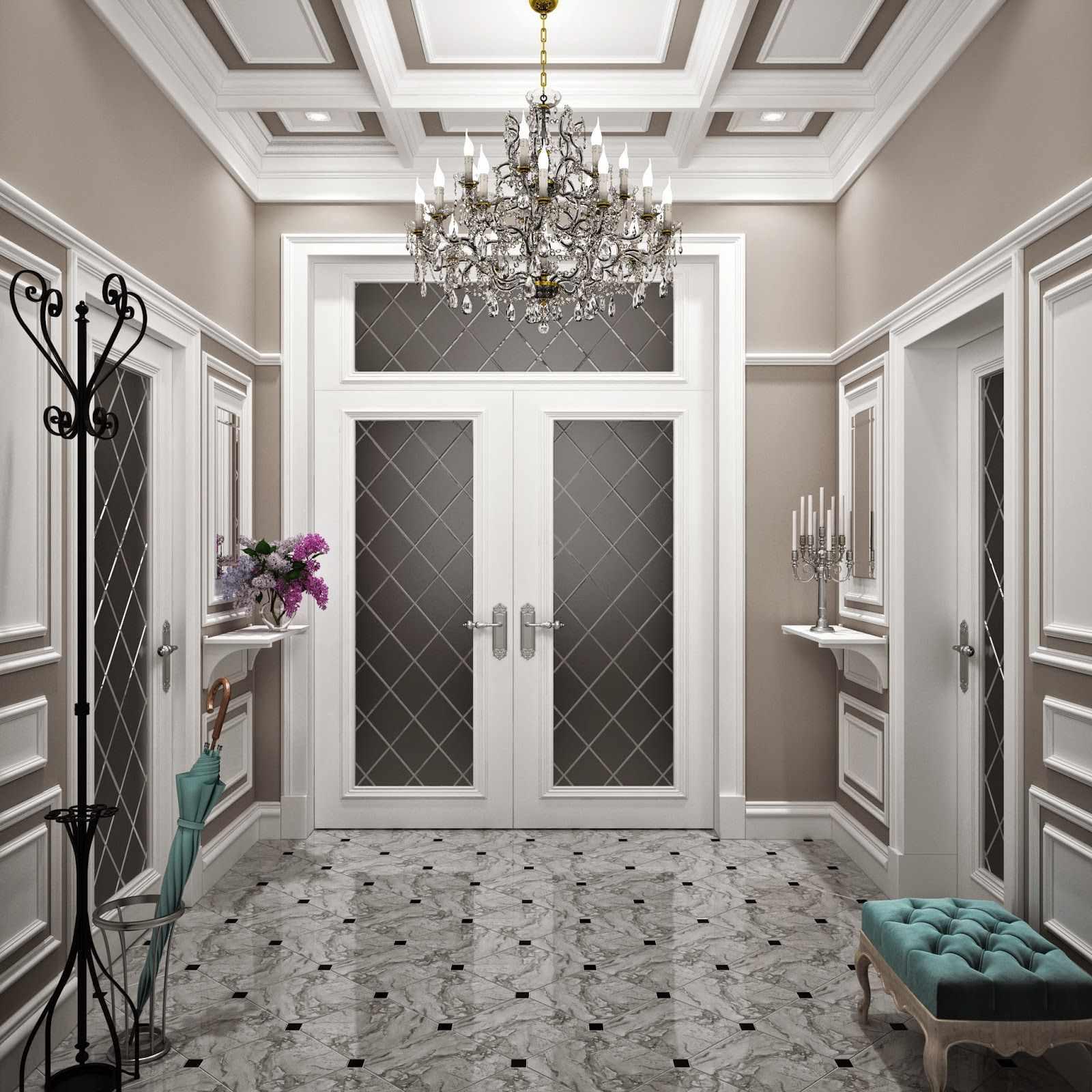 идея необычного интерьера коридора в частном доме