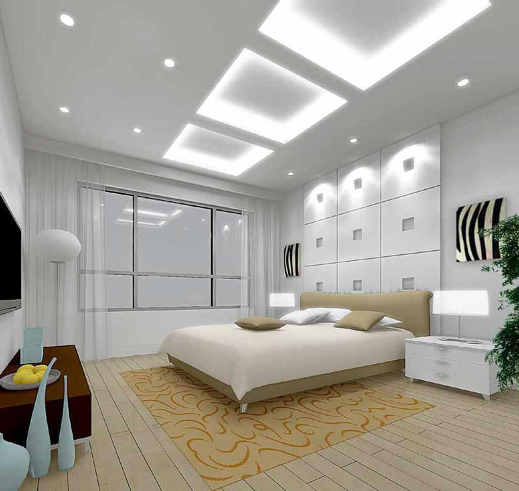 идея красивого интерьера спальной комнаты 15 кв.м