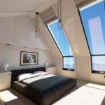 идея красивого декора спальной комнаты в мансарде картинка