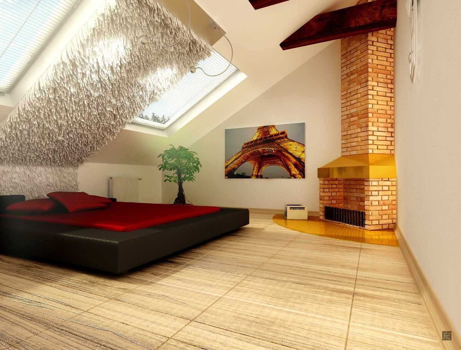 вариант красивого дизайна спальной комнаты в мансарде