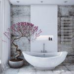 вариант применения красивой декоративной штукатурки в интерьере ванной комнаты картинка