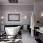 вариант использования светлой декоративной штукатурки в дизайне ванной фото