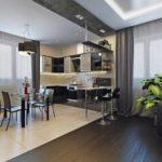 вариант необычного интерьера кухни гостиной 16 кв.м картинка