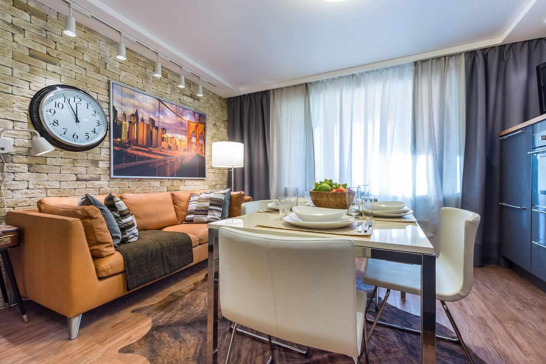 пример яркого стиля кухни гостиной 16 кв.м