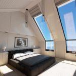 идея необычного стиля спальной комнаты в мансарде картинка