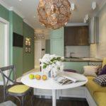 пример яркого дизайна кухни гостиной 16 кв.м фото