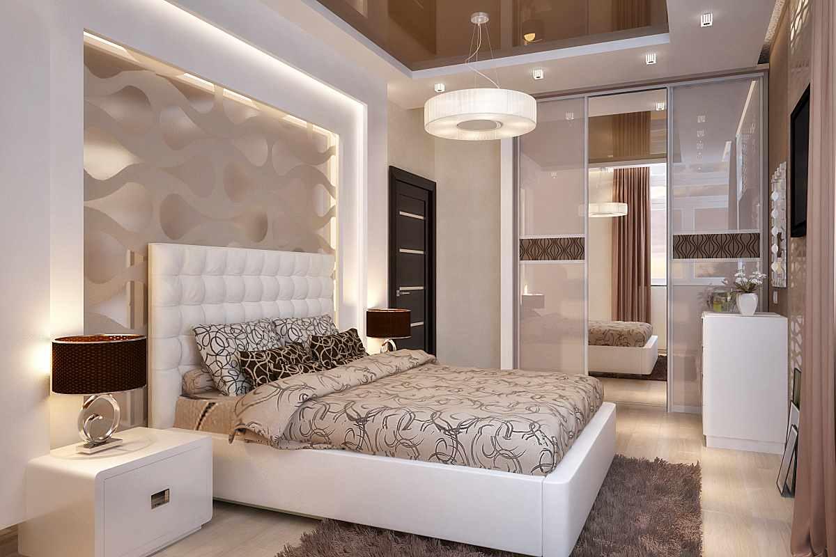 пример красивого интерьера спальной комнаты 15 кв.м