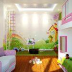 пример светлого дизайна спальни для девочки картинка