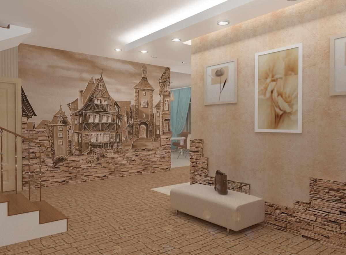 вариант необычного дизайна прихожей комнаты в частном доме