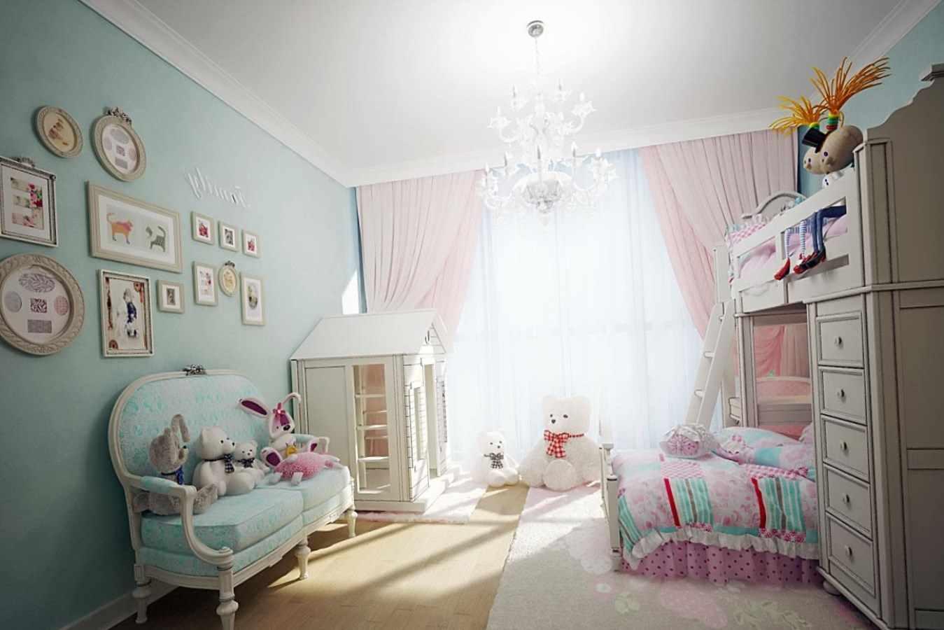 идея красивого дизайна спальной комнаты для девочки