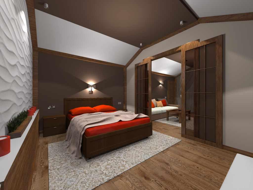 пример яркого стиля спальни в мансарде