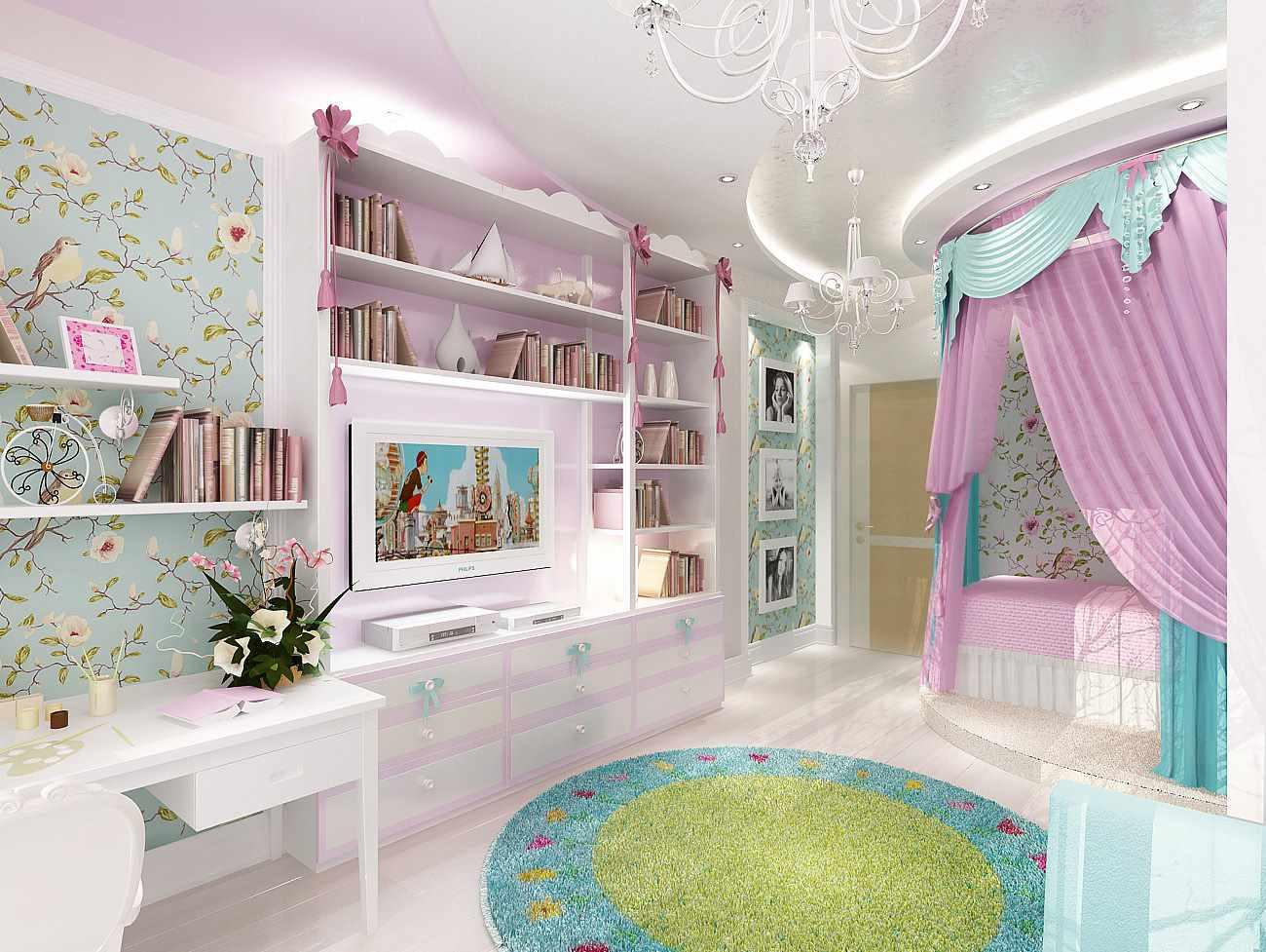 идея светлого стиля спальной комнаты для девочки