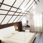 вариант красивого интерьера спальни в мансарде фото