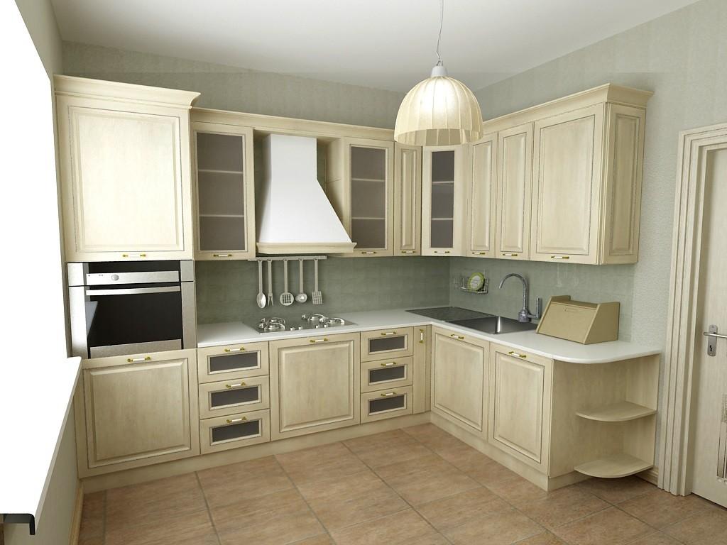 идея светлого декора угловой кухни