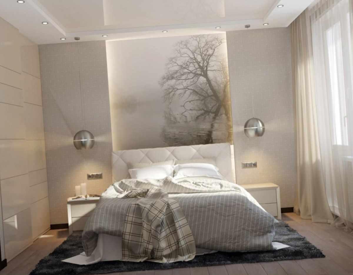 вариант светлого декора спальни 15 кв.м
