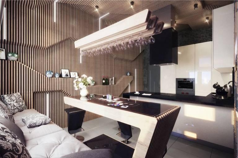 кухня гостиная с полуостровом
