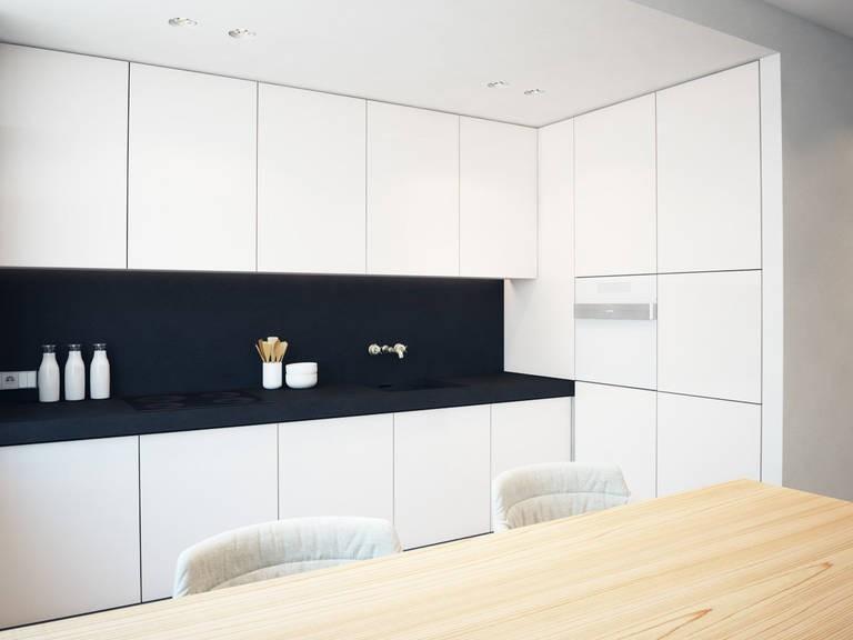 кухня гостиная минимализм