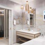 пример применения необычной декоративной штукатурки в дизайне ванной комнаты фото