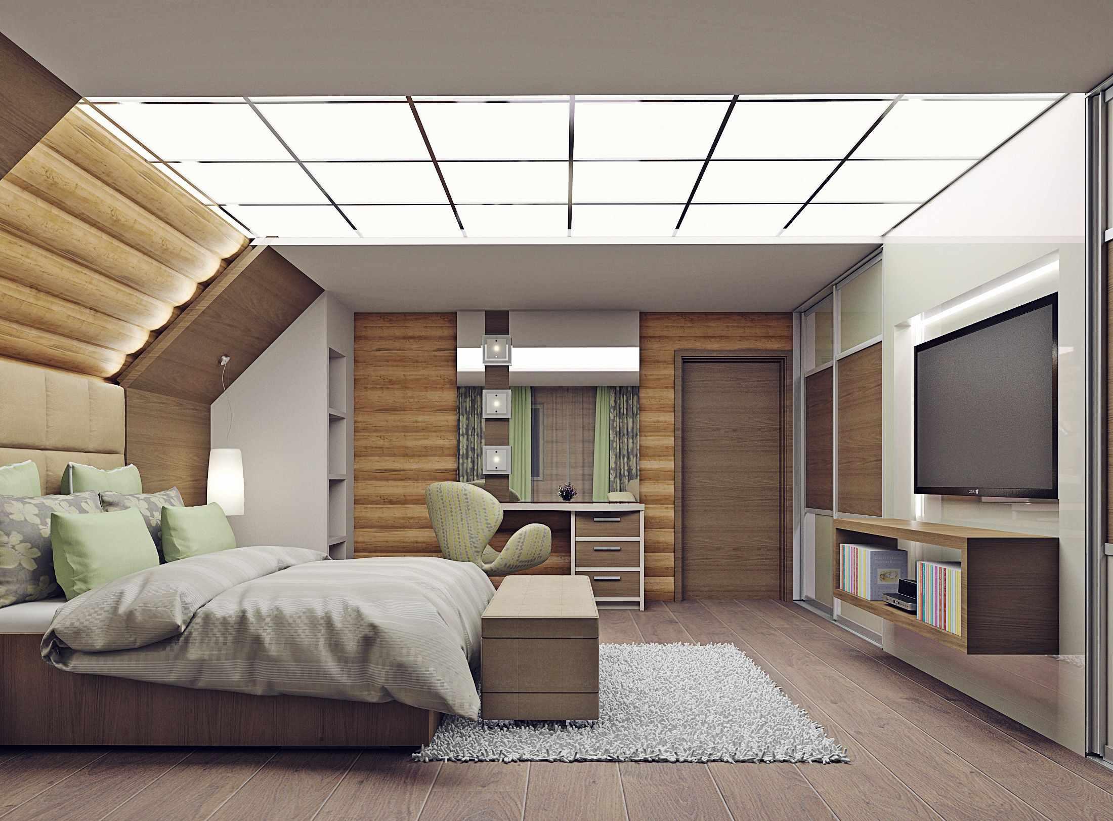 вариант яркого дизайна спальной комнаты в мансарде
