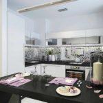 пример светлого дизайна кухни гостиной 16 кв.м картинка