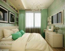 идея красивого дизайна узкой спальни картинка
