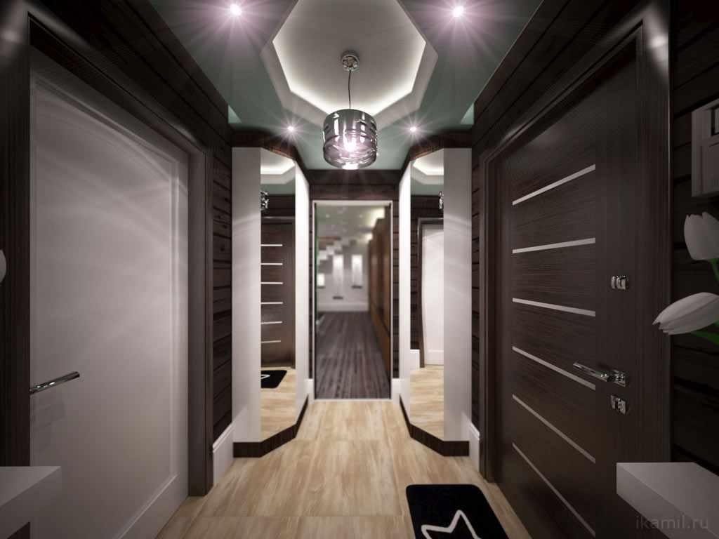 идея красивого интерьера коридора в частном доме