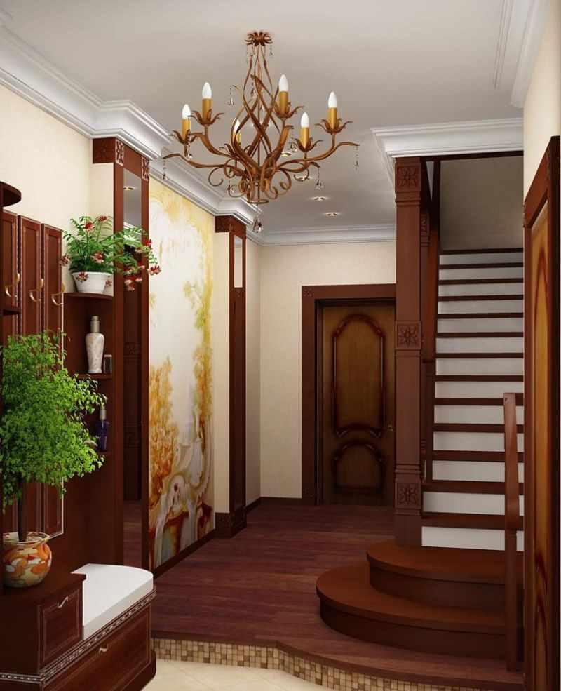 вариант яркого дизайна прихожей комнаты в частном доме
