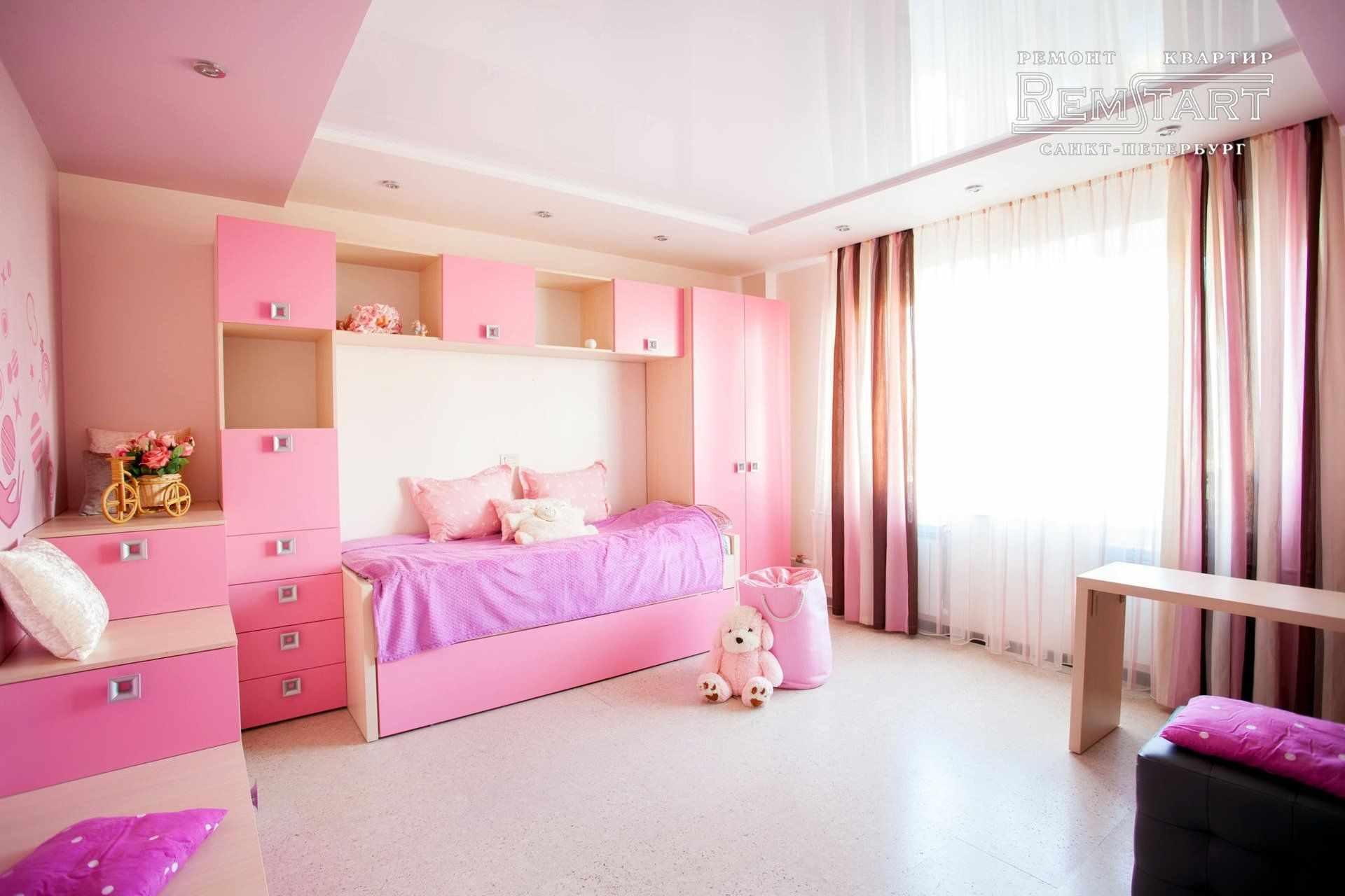 идея красивого интерьера спальной комнаты для девочки