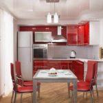 вариант светлого стиля красной кухни фото