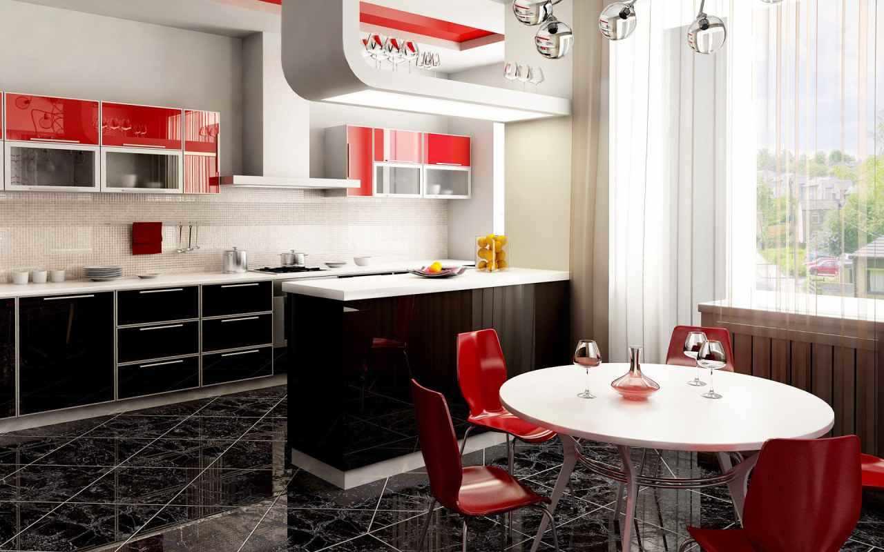 вариант яркого интерьера красной кухни