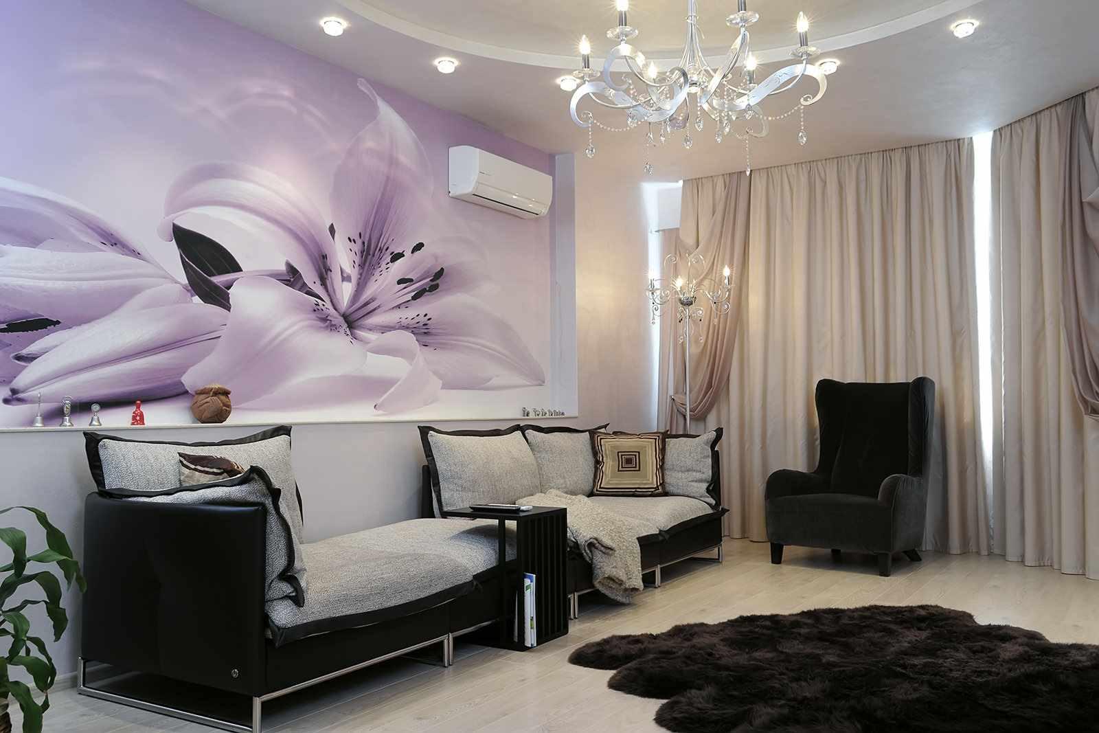 пример необычного стиля обоев для гостиной