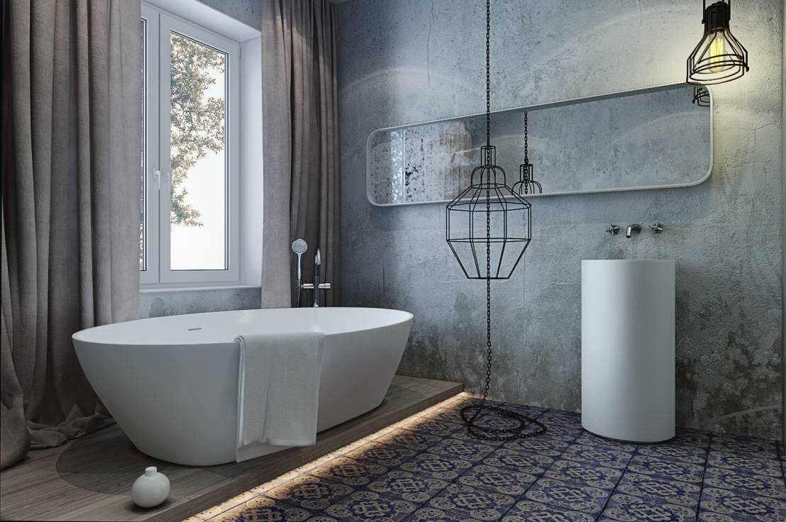 идея использования красивой декоративной штукатурки в интерьере ванной