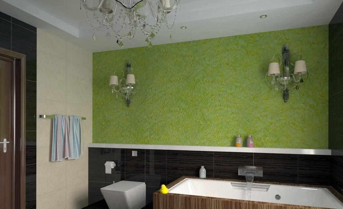 пример применения необычной декоративной штукатурки в декоре ванной