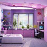 пример красивого дизайна спальной комнаты для девочки фото