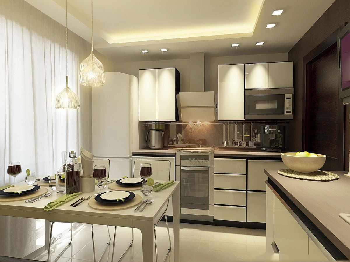вариант яркого интерьера кухни