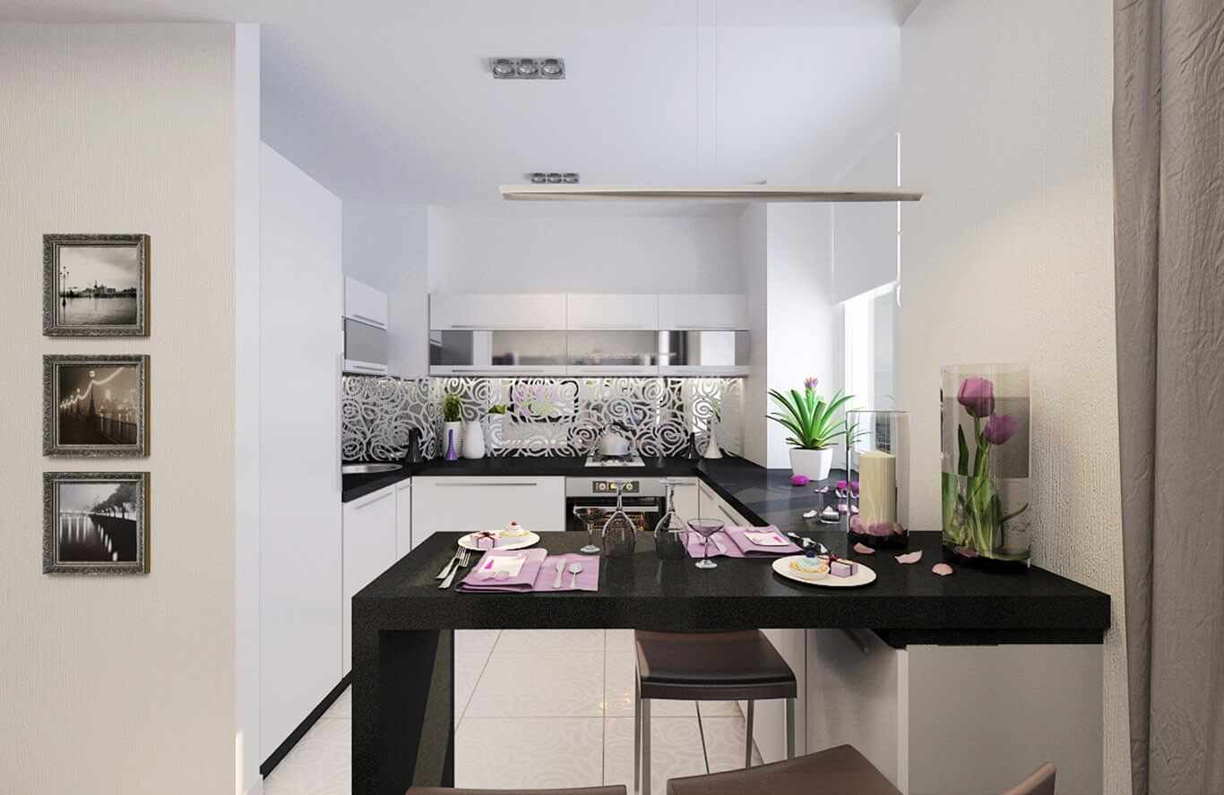 пример яркого интерьера кухни гостиной 16 кв.м