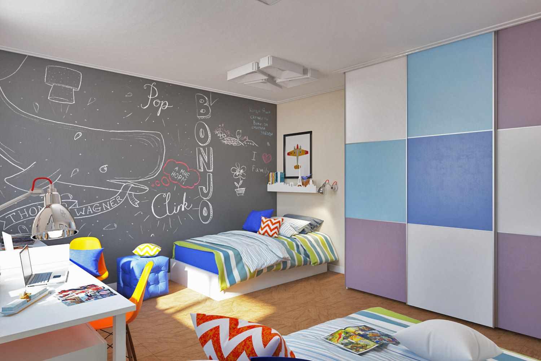 вариант светлого дизайна детской комнаты