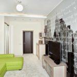 пример светлого дизайна обоев для гостиной фото
