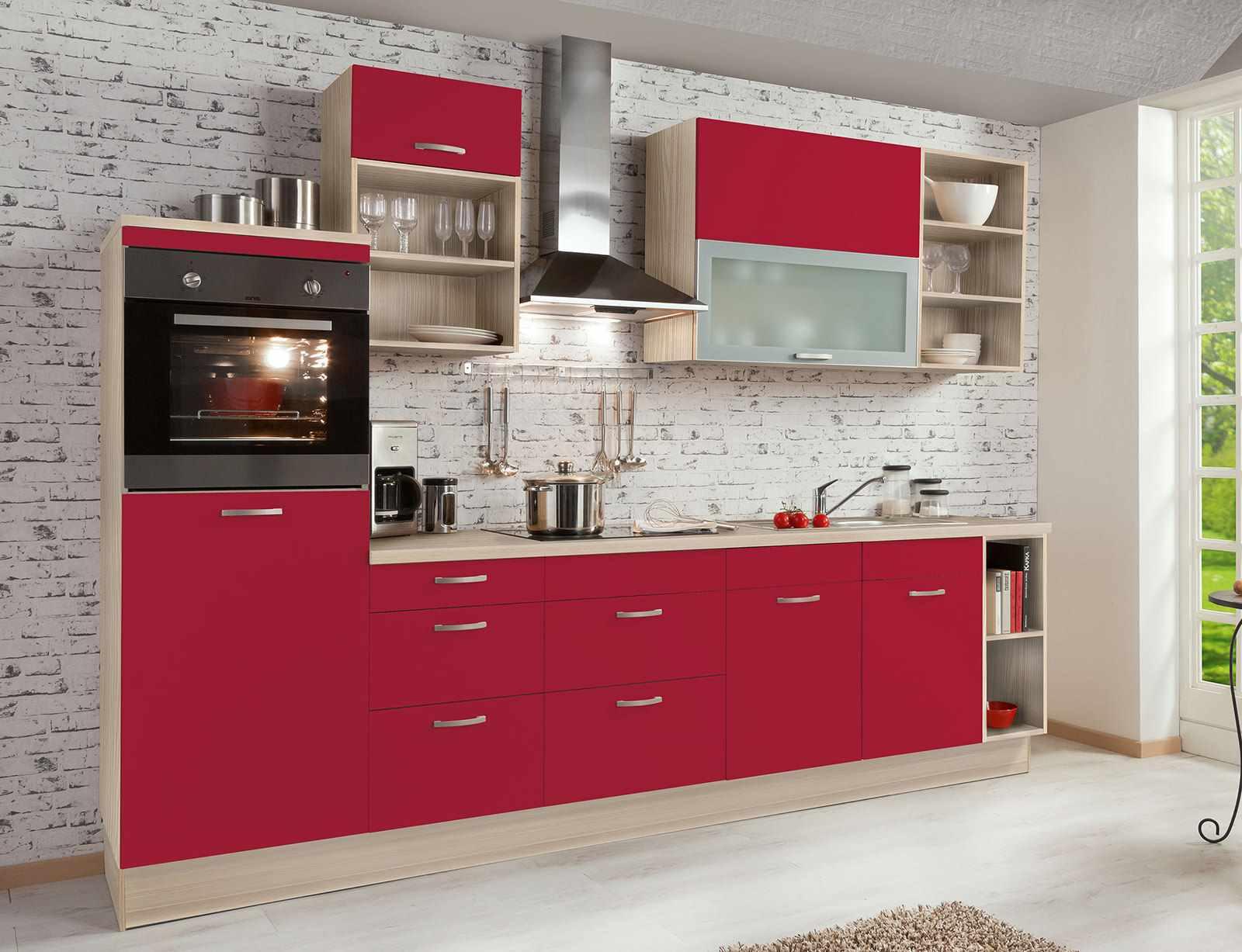 идея необычного стиля красной кухни