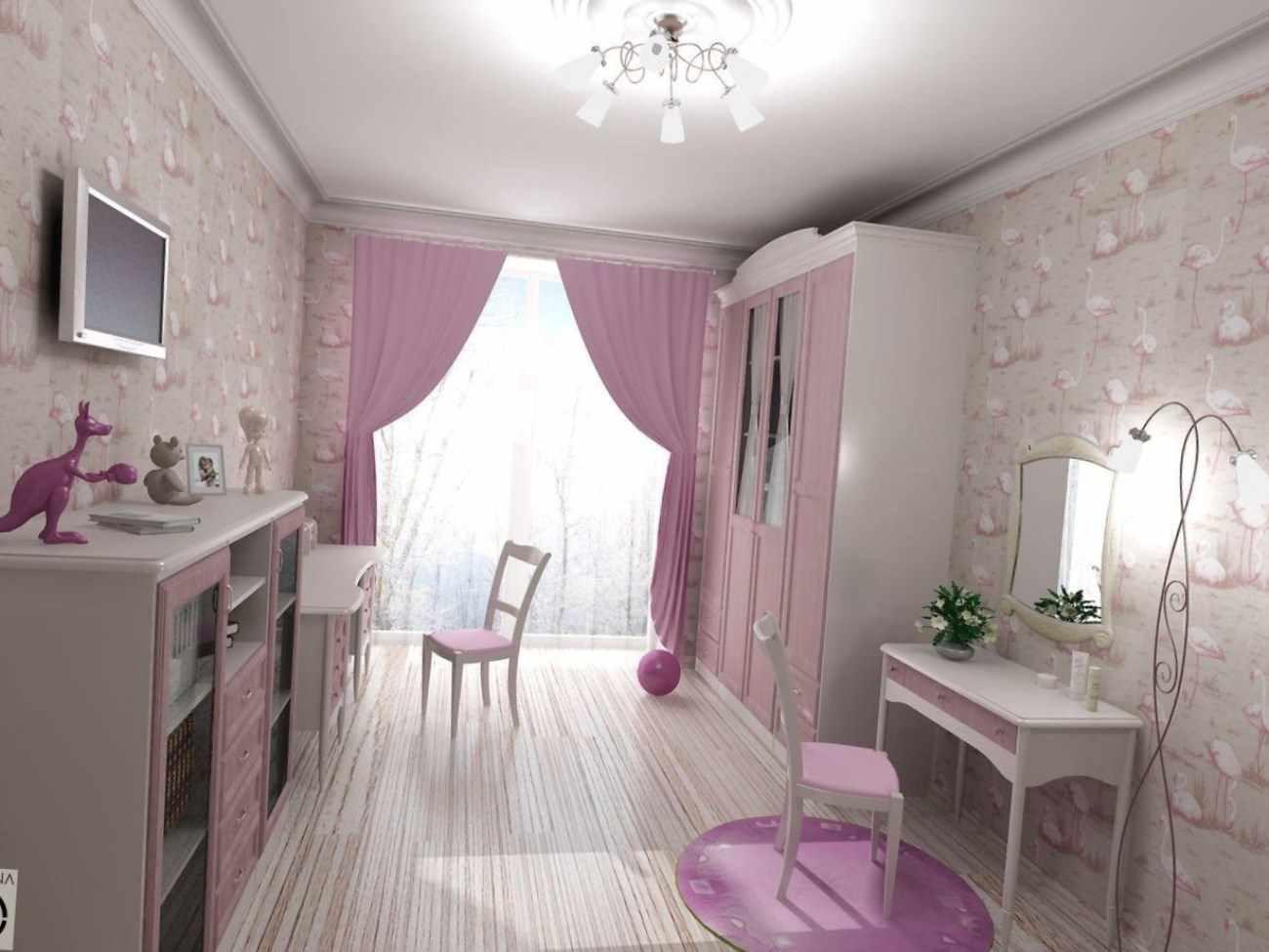 вариант красивого стиля спальной комнаты для девочки