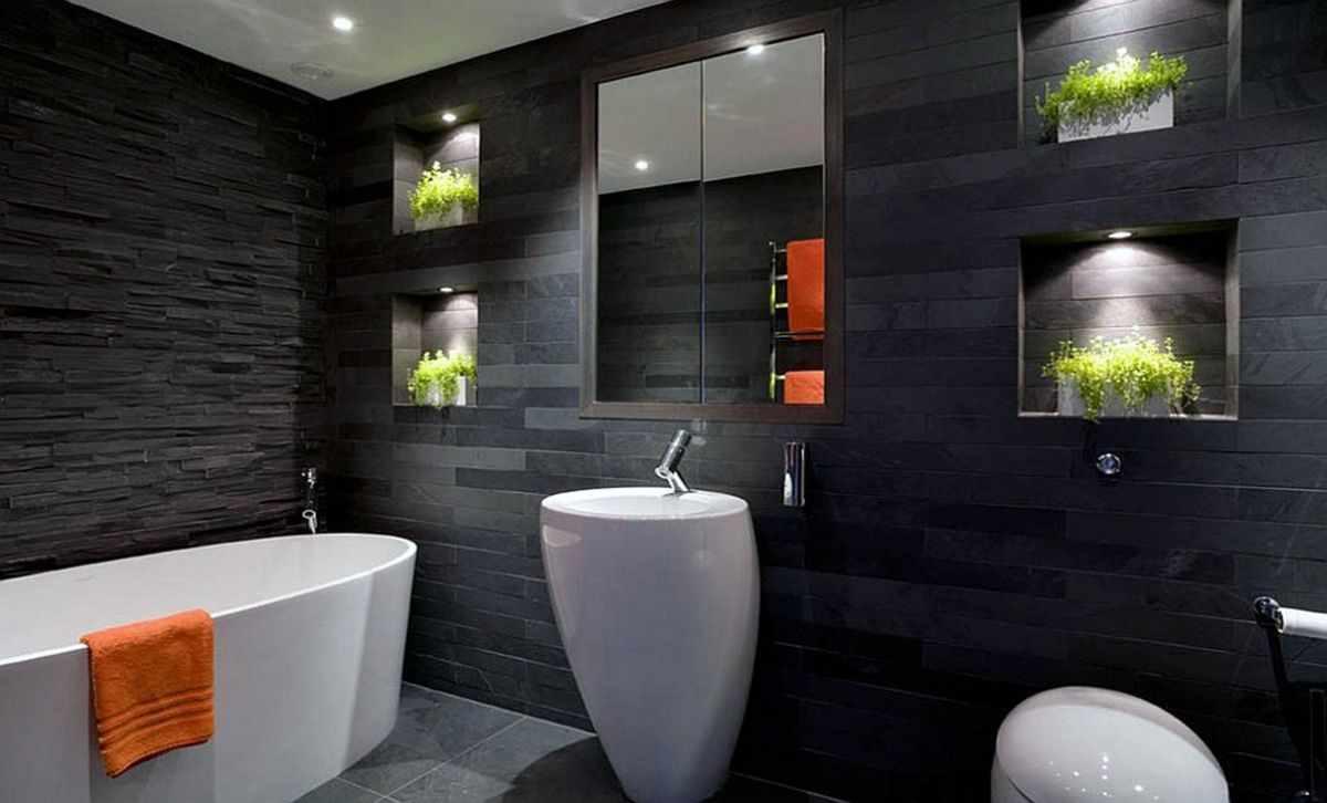 вариант красивого декора ванной комнаты